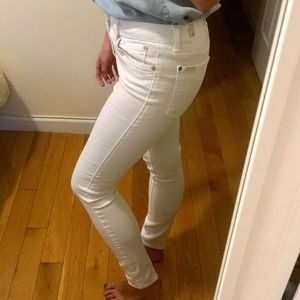 7 For All Mankind - White High Waist Ankle Skinny